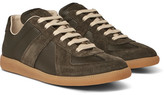 Maison Margiela Replica Suede And Leather Sneakers - Green