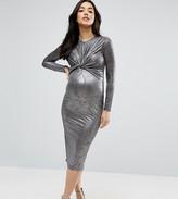 Asos Twist Knot Front Long Sleeve Bodycon Dress In Lurex