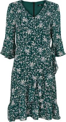 Wallis Green Floral Print Ruffle Dress