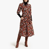 La Redoute Collections Floral Print Midi Shirt Dress with Pockets and Long Sleeves