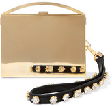 Eddie Borgo Lou Embellished Leather-trimmed Gold-tone Clutch