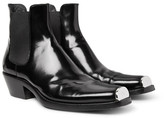 Calvin Klein Glossed-Leather Chelsea Boots