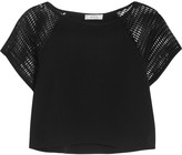Milly Mesh-paneled jersey top
