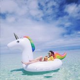 Liyoung Giant Unicorn Swimming Island Inflatable Raft, Swimming Rings Inflatable Water Float Toys for Adults and Kids Used in Swimming pool, Oceans and Lakes, 200×100×90 cm