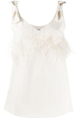 P.A.R.O.S.H. Panters feather trim camisole