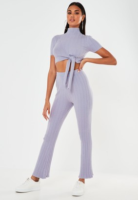 Missguided Lilac Co Ord Rib High Neck Tie Front Knitted Crop Top