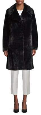 7 For All Mankind Notch-Collar Faux Fur Coat