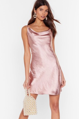 Nasty Gal Womens Cowl Neck Satin Dress with Adjustable Straps - Blush