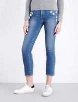 Paige Jacqueline flower embellished high-rise stretch-denim jeans