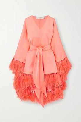 Valentino Tie-detailed Feather-trimmed Silk-satin Tunic - Orange