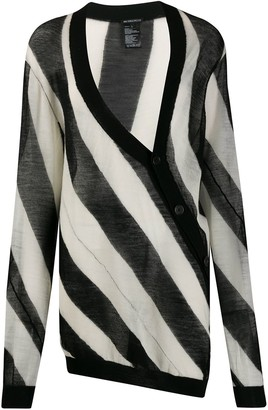 Ann Demeulemeester Striped Twist Long Cardigan