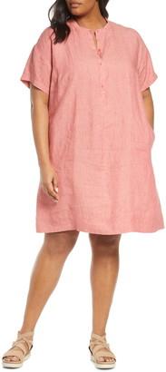 Eileen Fisher Short Sleeve Organic Linen Shift Dress