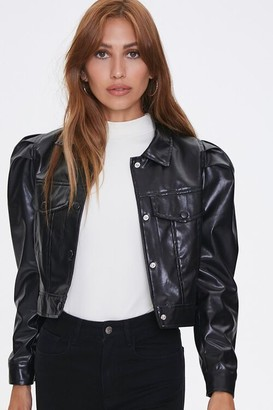 Forever 21 Shirred Faux Leather Jacket