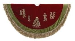 Kurt Adler 50-Inch Burgundy Ribbon Trees Tree skirt with Green Tassel Border