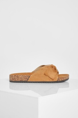 boohoo Suede Bow Detail Sandals