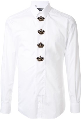 Dolce & Gabbana Crown Patches Slim-Fit Shirt