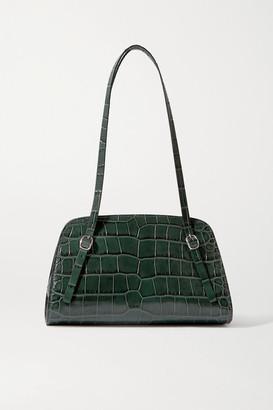 BY FAR Lora Croc-effect Leather Shoulder Bag - Dark green