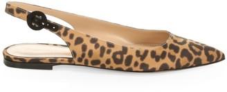 Gianvito Rossi Anna Leopard-Print Silk Slingback Flats