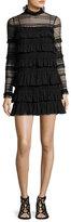 Isabel Marant Trevor High-Neck Ruffled Lace Dress, Black
