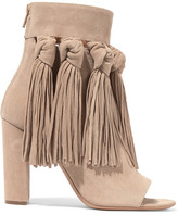 Chloé Tasseled Suede Ankle Boots - Beige