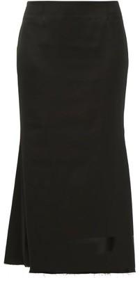 Marina Moscone - Fluted Satin Midi Skirt - Black