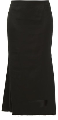 Marina Moscone - Fluted Satin Midi Skirt - Womens - Black