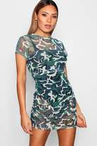 boohoo Paige Mesh Rouched Camo Bodycon Dress