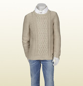 Gucci Beige Cotton Crew Neck Sweater