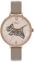 Radley RY2586 Women's Folk Dog Leather Strap Watch, Grey/Cream