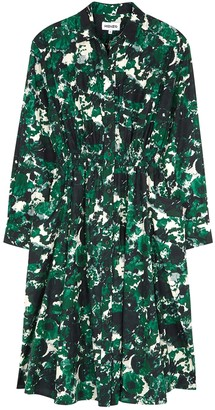 Kenzo Green printed cotton-blend shirt dress