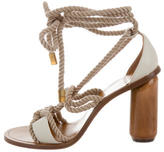 Mulberry Woven Lace-Up Sandals