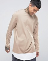 Asos Super Longline Long Sleeve T-Shirt With Double Layer Curve Hem In Beige