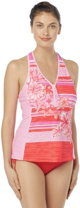 Beach House Women's Racer Back Zip Front Tankini Swimsuit Top