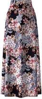 Bella Flore Women's Maxi Skirts BLACK - Black Gray & Pink Floral High Waist A-Line Maxi Skirt - Women
