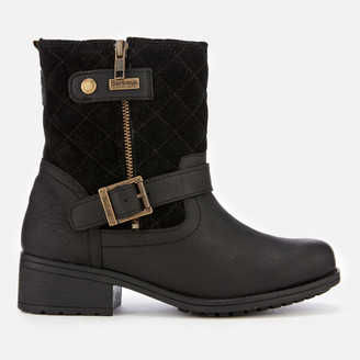 Barbour Short Sienna Quilted Flat Boots - 3 - Black