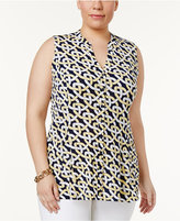 Charter Club Plus Size Printed Godet Top, Only at Macy's