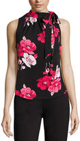 Liz Claiborne Sleeveless Tie-Neck Print Top