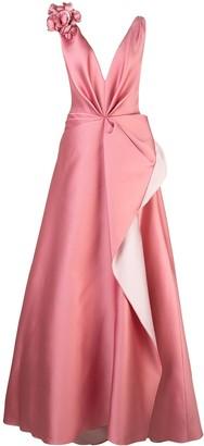 Marchesa flower appliqué gown