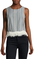 Lucca Couture Women's Linen Fringe Trimmed Top