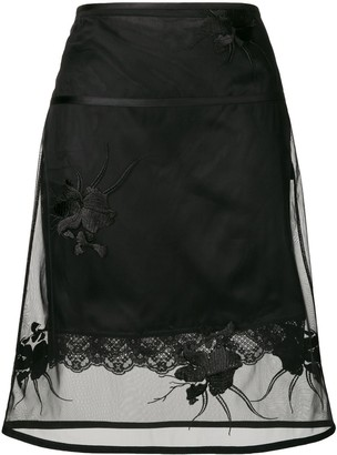 Helmut Lang Floral Embroidered Layered Skirt
