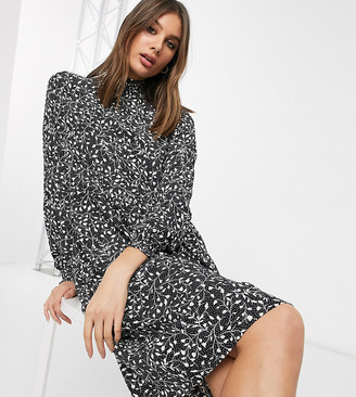 Only Tall midi dress with high neck in monochrome ditsy print-Multi