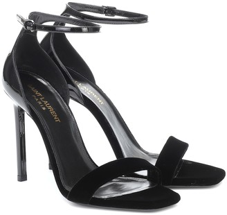 Saint Laurent Amber velvet and patent leather sandals
