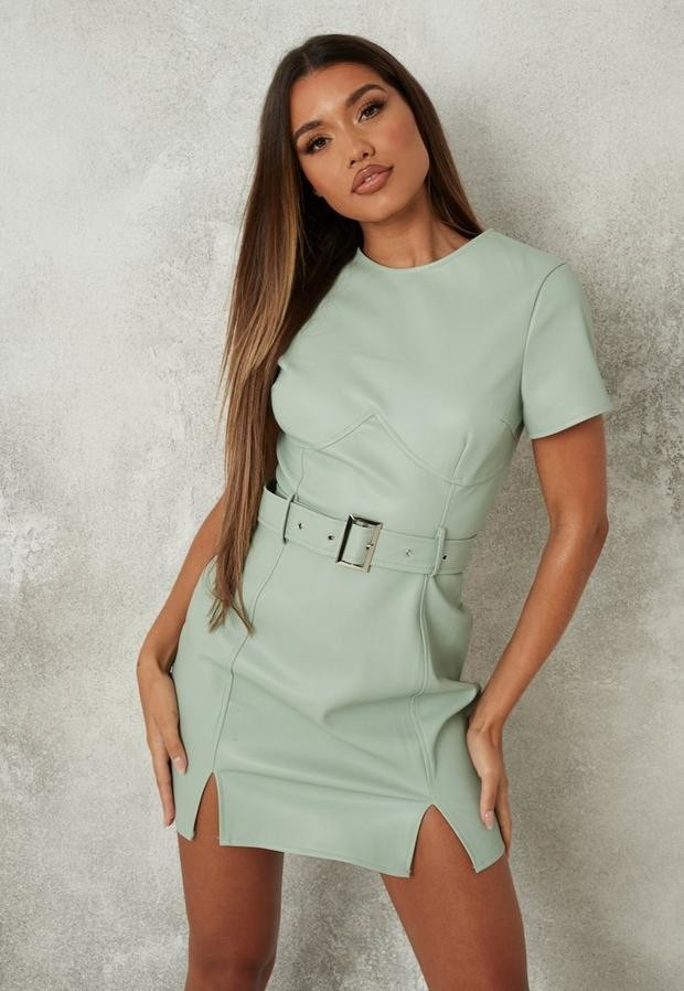 Missguided Sage Faux Leather Belted Mini Dress