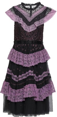 Needle & Thread Ruffled Lace-trimmed Embroidered Tulle Dress