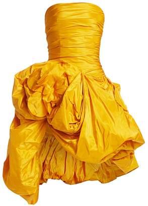 Oscar de la Renta Strapless Gathered Silk Cocktail Dress