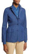 Loro Piana Kelsey Denim Three-Button Jacket, Blue
