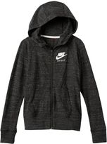 "Nike Girls 7-16 Just Do It"" Marled Nep Raglan Zip-Up Hoodie"