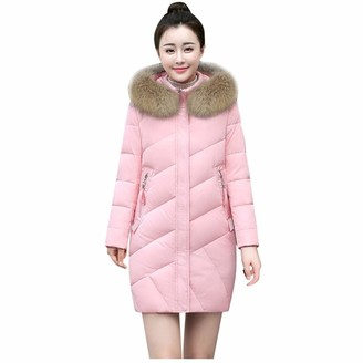 Tuduz Outerwear TUDUZ New Women's Quilted Winter Down Coat Ladies Slim Cotton Overcoat Puffer Fur Collar Hooded Parka Pink Black Blue Gray(A Black 3XL)