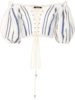 Roberto Cavalli Off-the-shoulder Lace-up Striped Cotton-blend Top - White
