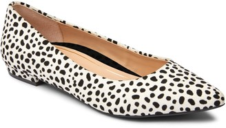 Vionic Leather Cow Print Pointed Flats - Lena